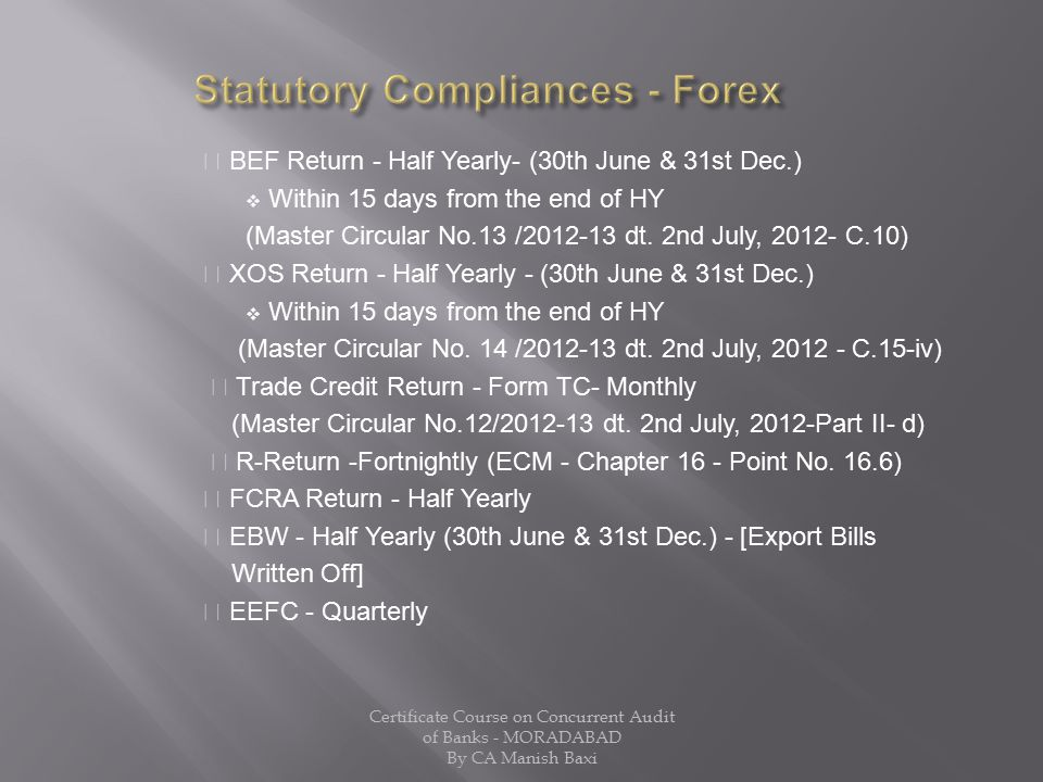 Statutory Compliances - Forex