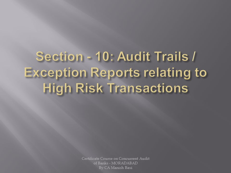 Section - 10: Audit Trails / Exception Reports relating to High Risk Transactions