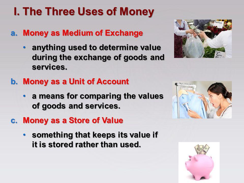 I. The Three Uses of Money