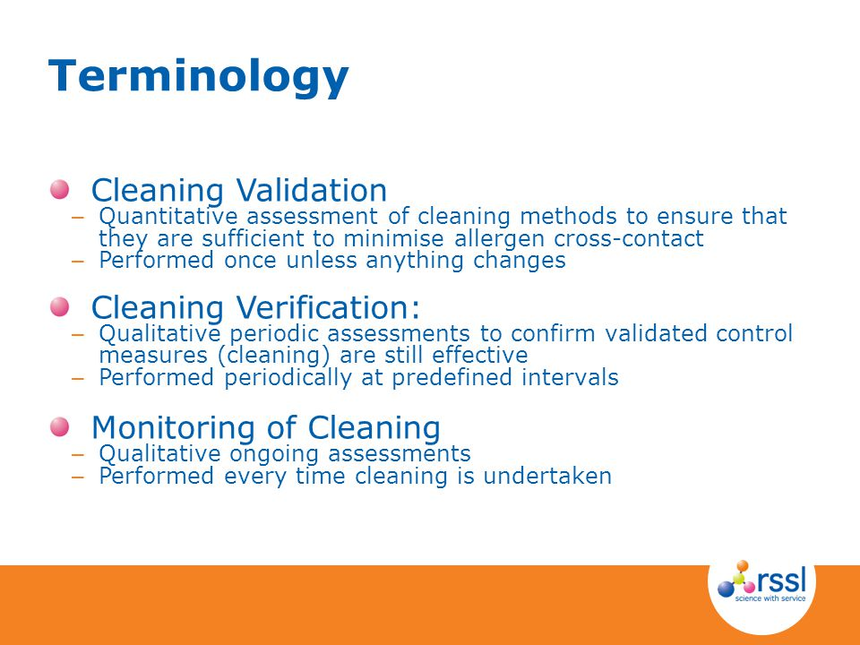 Terminology Cleaning Validation Cleaning Verification: