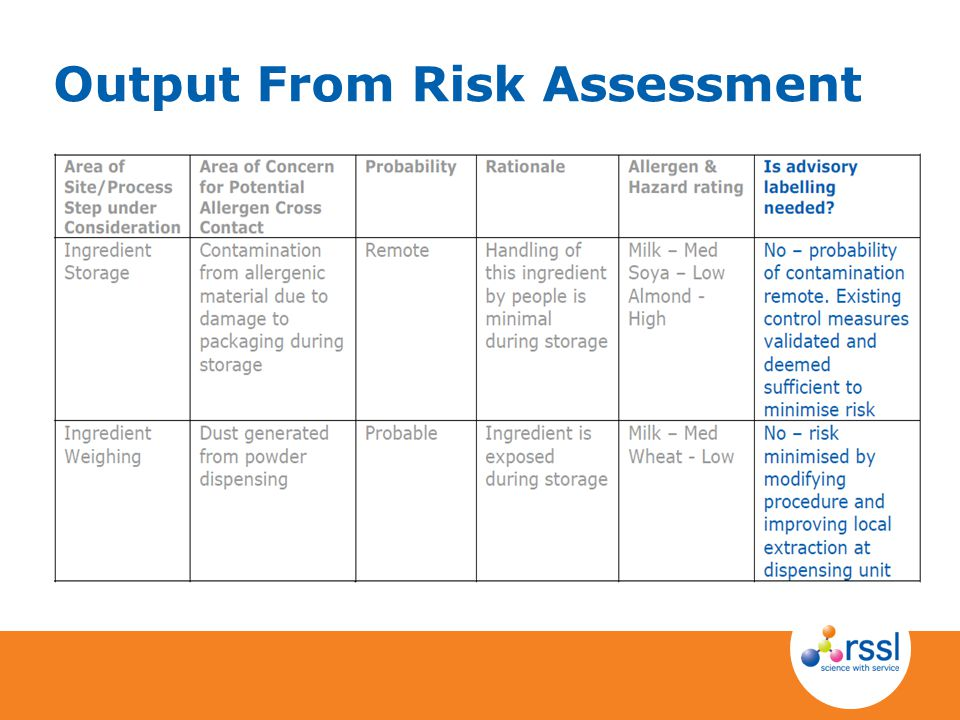 Output From Risk Assessment