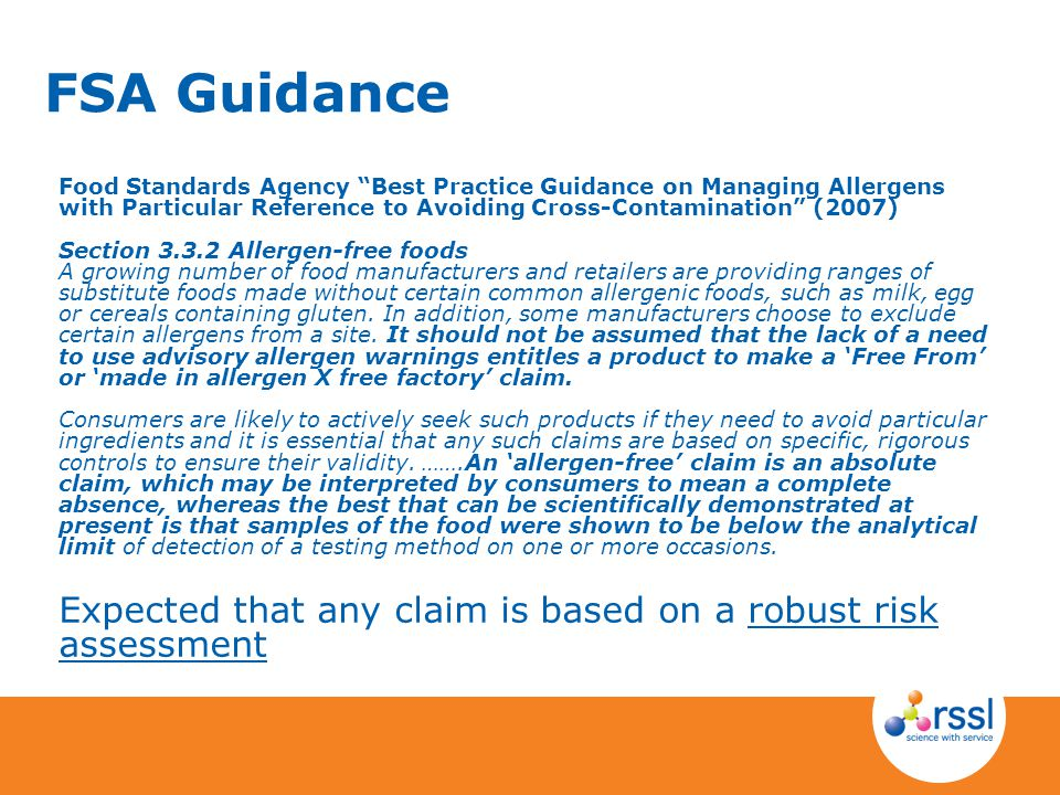 FSA Guidance Food Standards Agency Best Practice Guidance on Managing Allergens with Particular Reference to Avoiding Cross-Contamination (2007)
