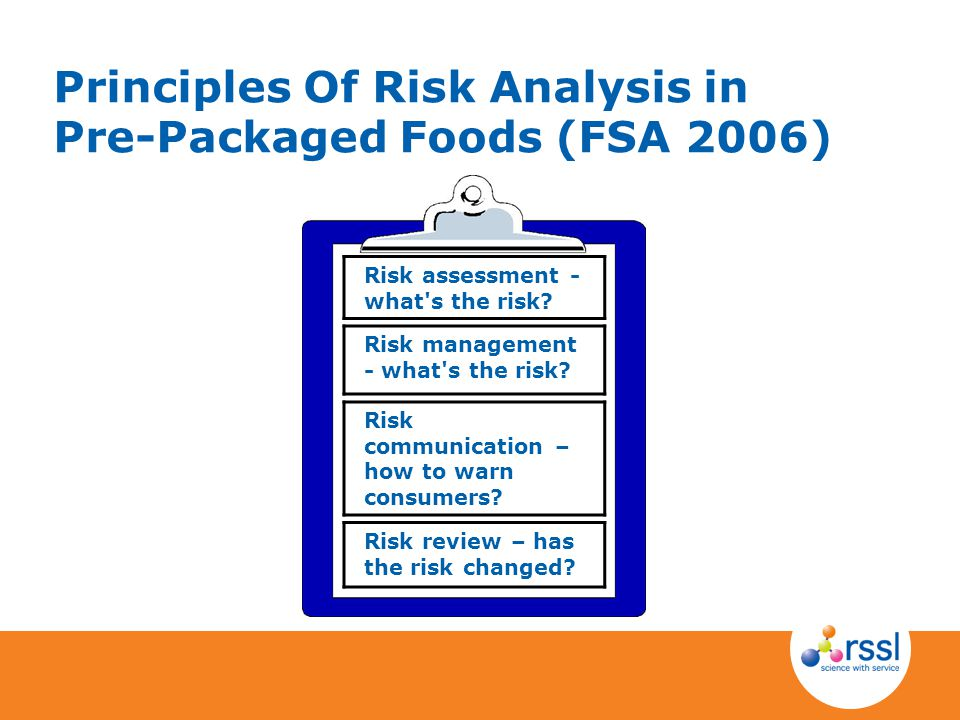 Principles Of Risk Analysis in Pre-Packaged Foods (FSA 2006)