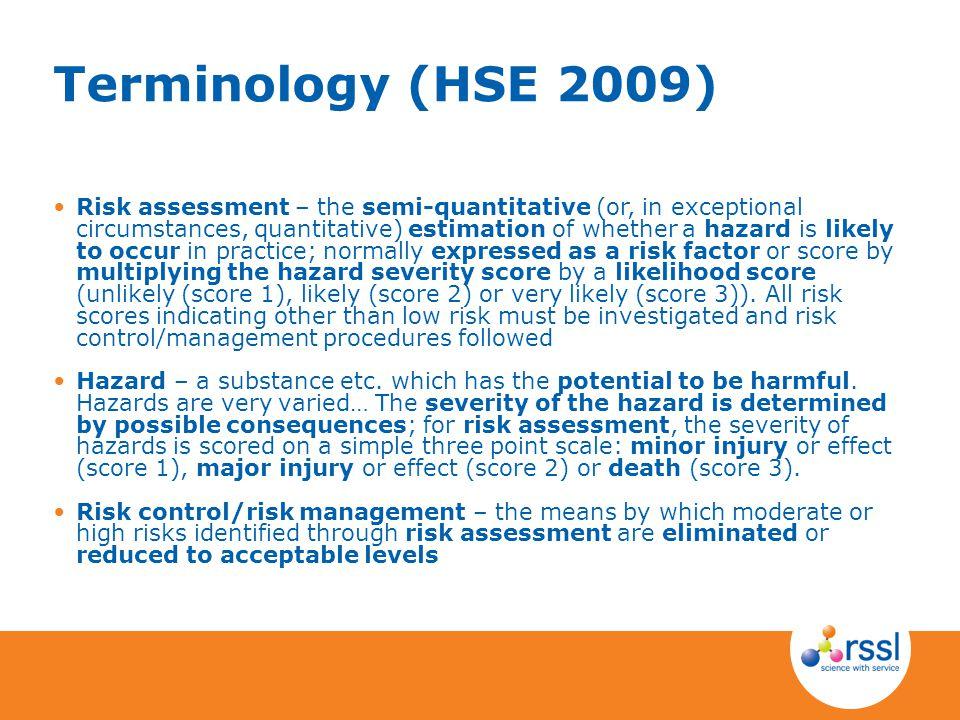 Terminology (HSE 2009)