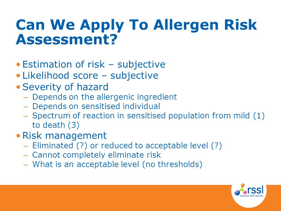 Can We Apply To Allergen Risk Assessment
