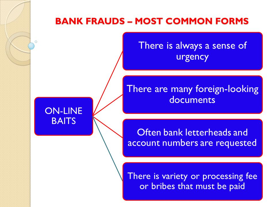 BANK FRAUDS – MOST COMMON FORMS