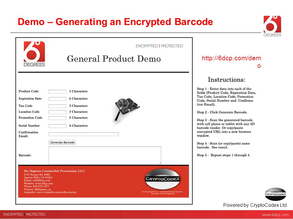 Demo – Generating an Encrypted Barcode