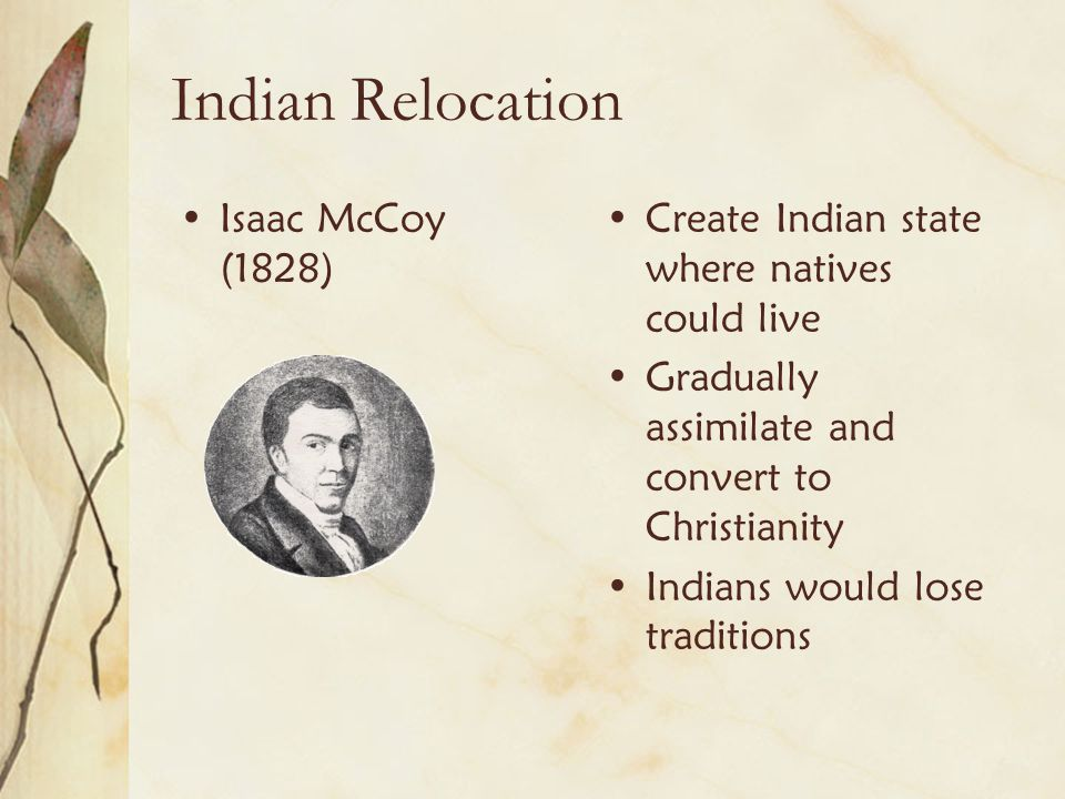 Indian Relocation Isaac McCoy (1828)
