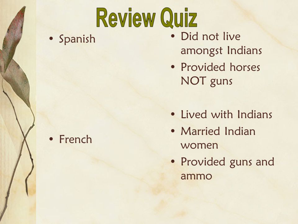 Review Quiz Did not live amongst Indians Spanish