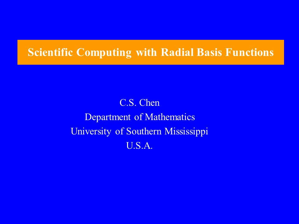 Scientific Computing with Radial Basis Functions