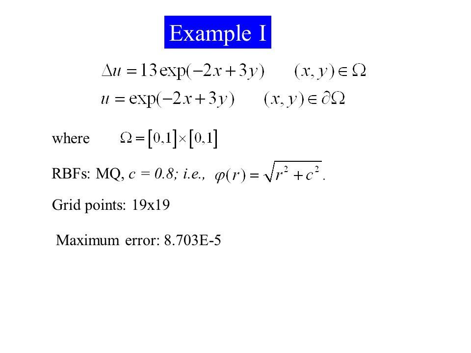 Example I where RBFs: MQ, c = 0.8; i.e., Grid points: 19x19