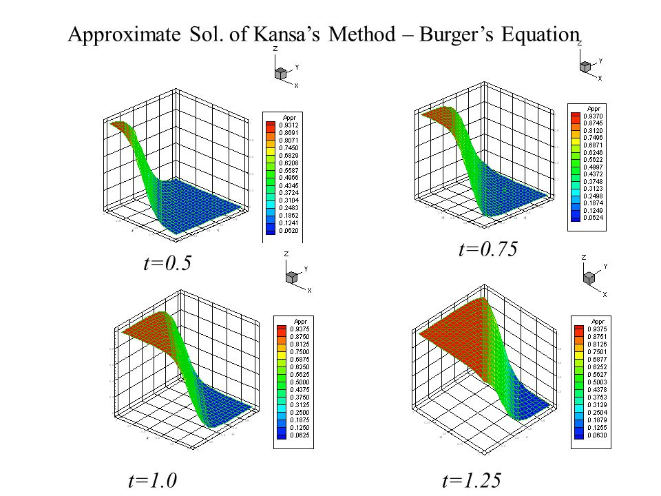 Approximate Sol. of Kansa's Method – Burger's Equation