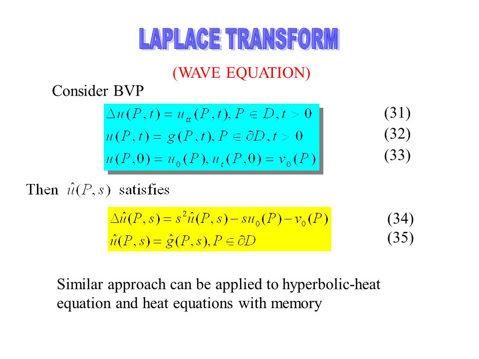 LAPLACE TRANSFORM (WAVE EQUATION) Consider BVP (31) (32) (33) (34)