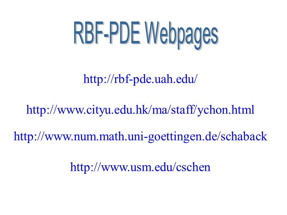 RBF-PDE Webpages http://rbf-pde.uah.edu/