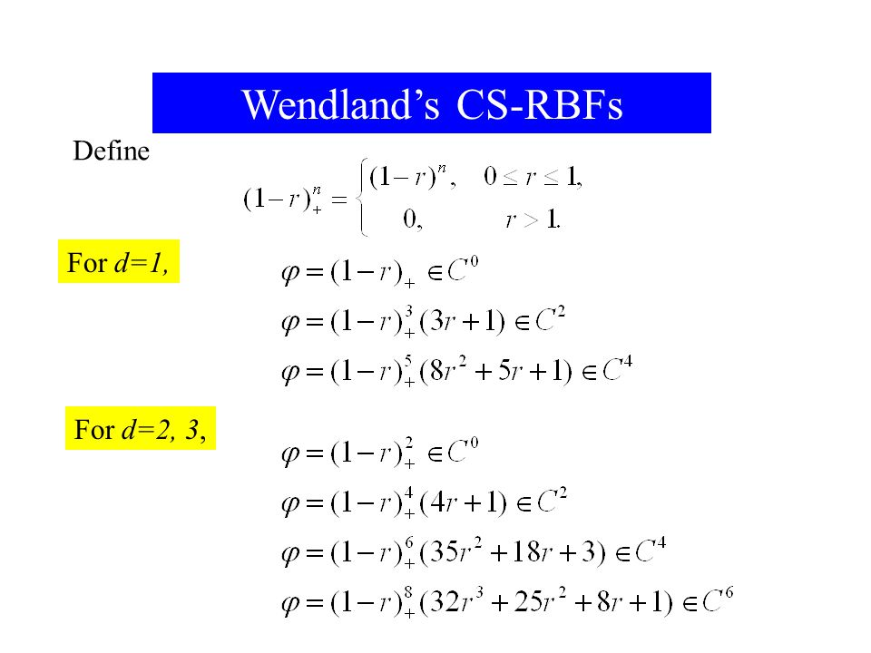 Wendland's CS-RBFs Define For d=1, For d=2, 3, For 2017/4/13