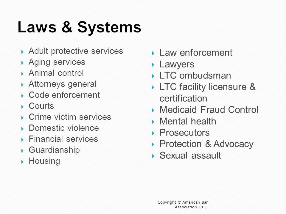 Laws & Systems Law enforcement Lawyers LTC ombudsman
