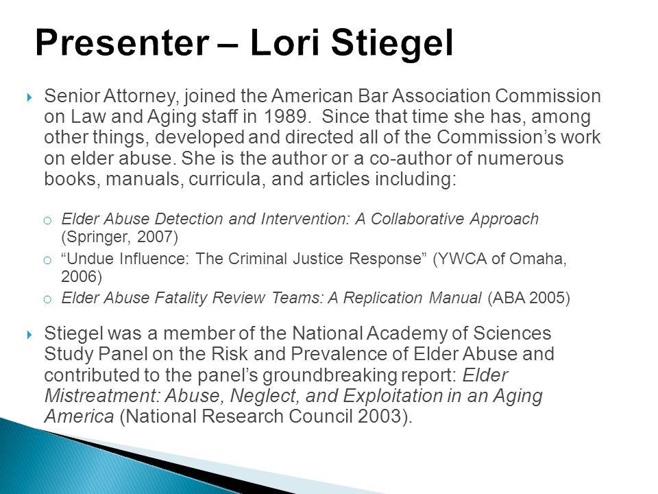 Presenter – Lori Stiegel