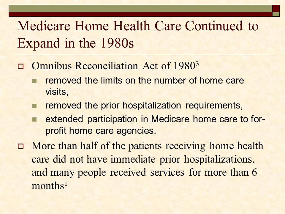Medicare Home Health Care Continued to Expand in the 1980s