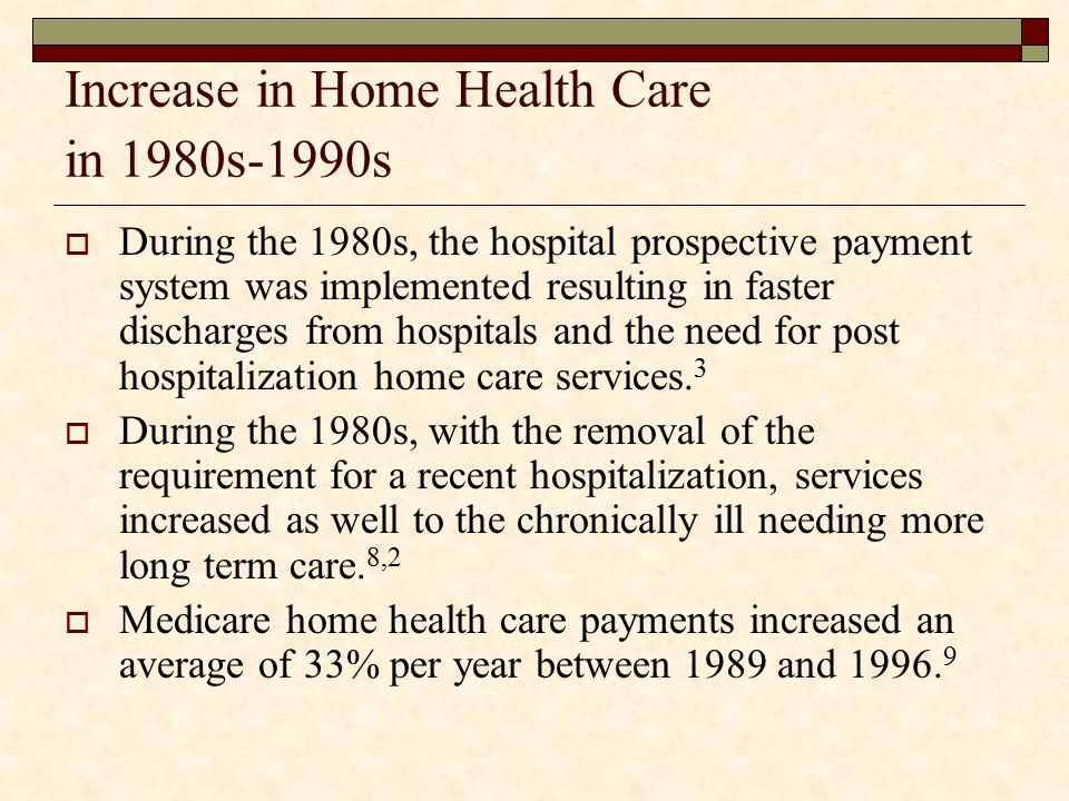 Increase in Home Health Care in 1980s-1990s