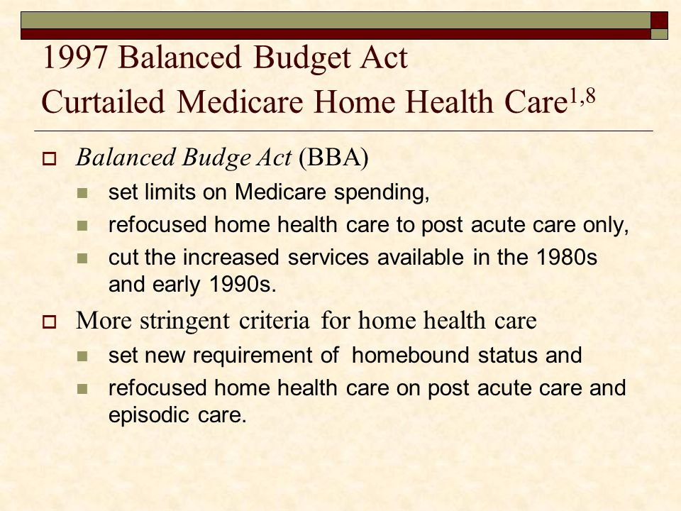 1997 Balanced Budget Act Curtailed Medicare Home Health Care1,8