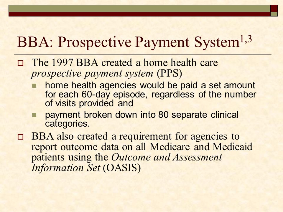 BBA: Prospective Payment System1,3