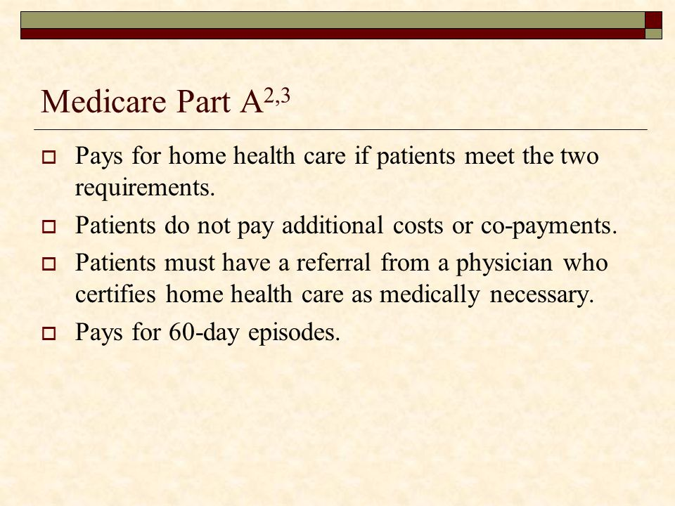 Medicare Part A2,3 Pays for home health care if patients meet the two requirements. Patients do not pay additional costs or co-payments.