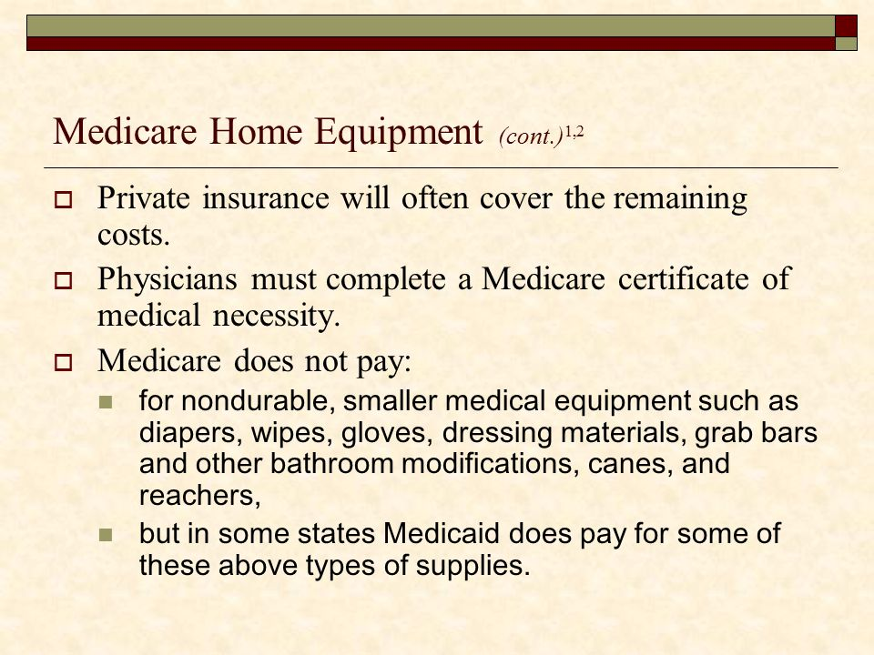 Medicare Home Equipment (cont.)1,2