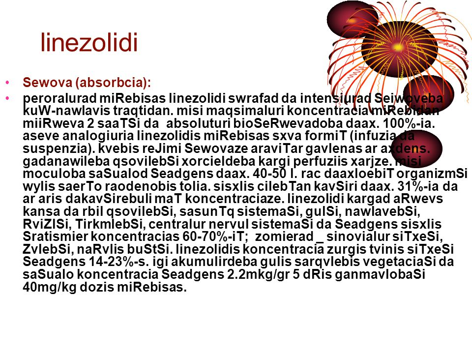linezolidi Sewova (absorbcia):