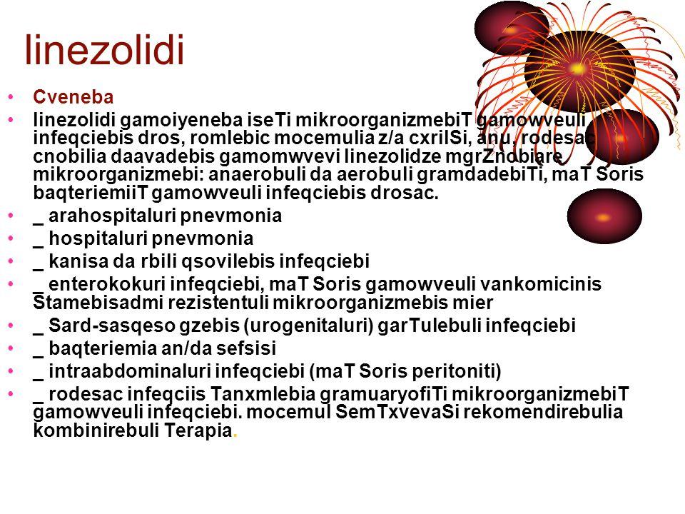 linezolidi Cveneba.