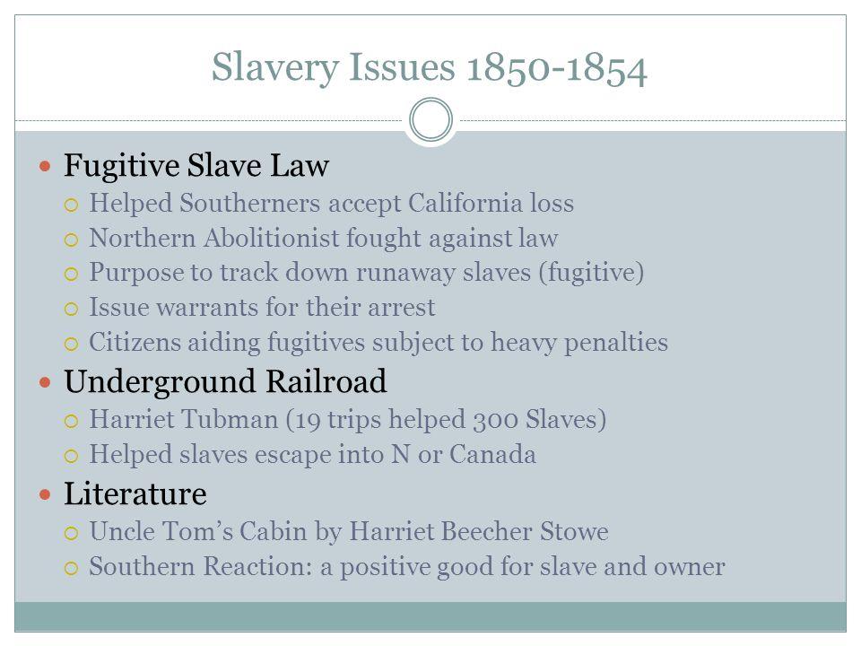 Slavery Issues 1850-1854 Fugitive Slave Law Underground Railroad