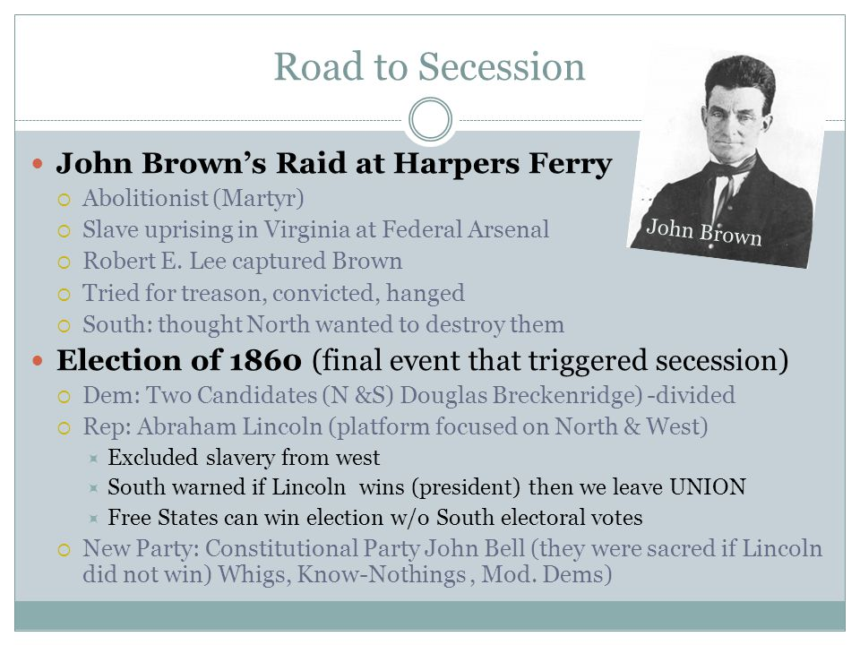 Road to Secession John Brown's Raid at Harpers Ferry