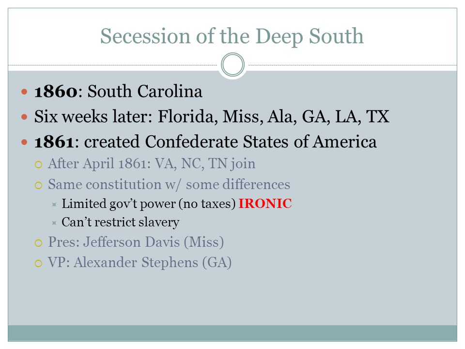 Secession of the Deep South
