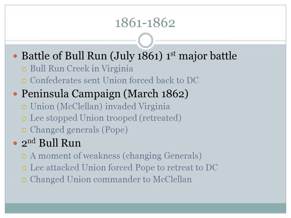 1861-1862 Battle of Bull Run (July 1861) 1st major battle