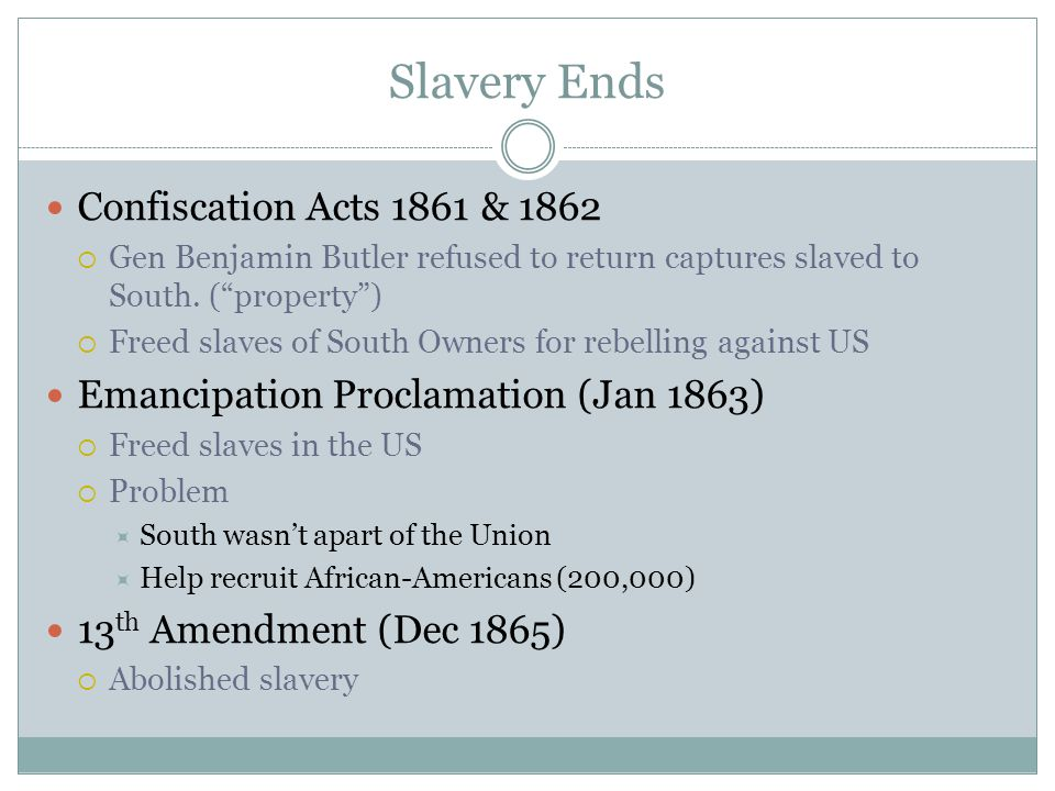 Slavery Ends Confiscation Acts 1861 & 1862