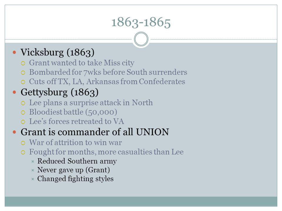 1863-1865 Vicksburg (1863) Gettysburg (1863)