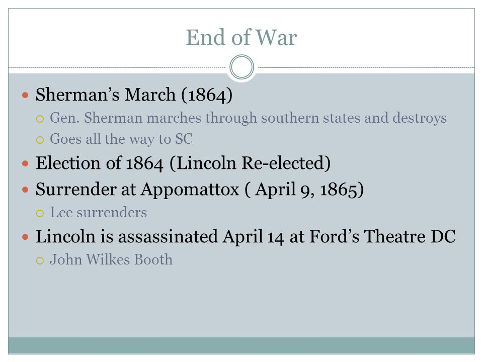 End of War Sherman's March (1864)