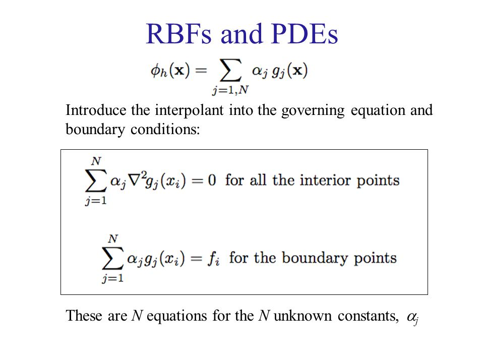 RBFs and PDEs Introduce the interpolant into the governing equation and.