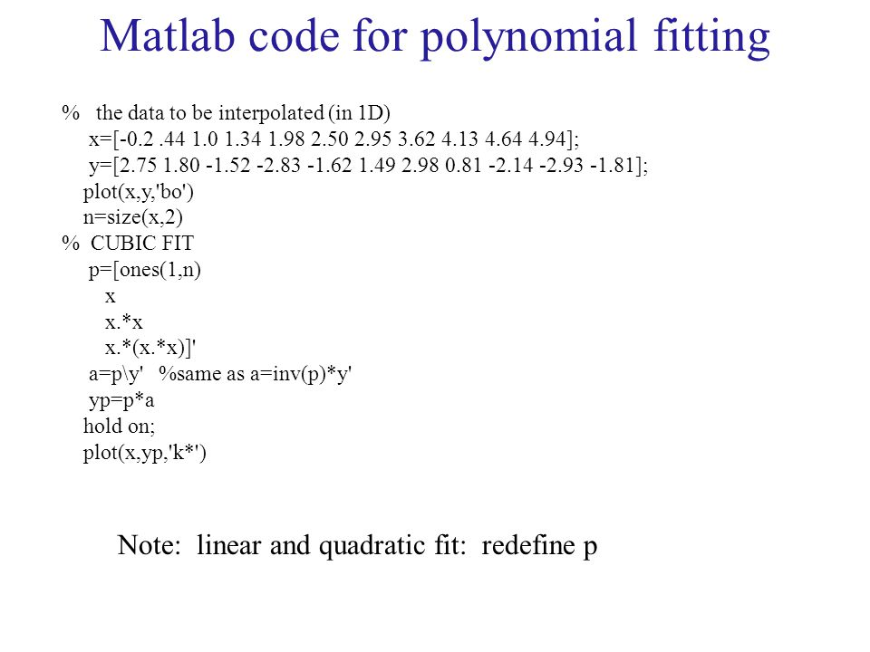 Matlab code for polynomial fitting