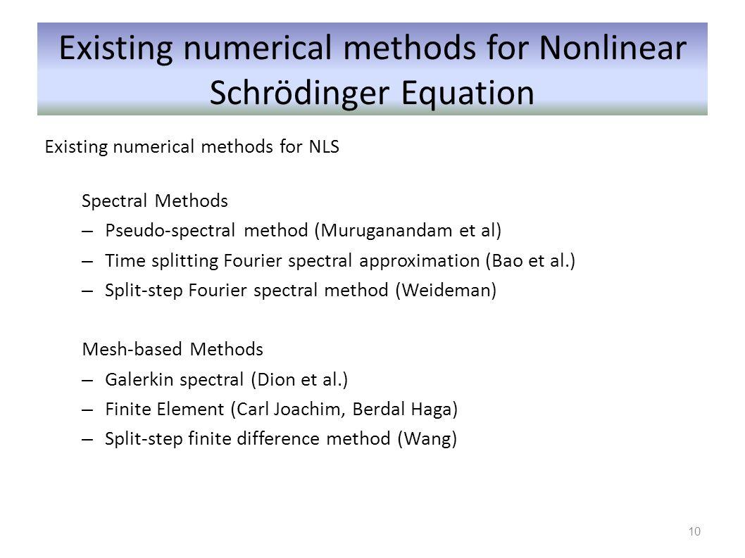 Existing numerical methods for Nonlinear Schrödinger Equation
