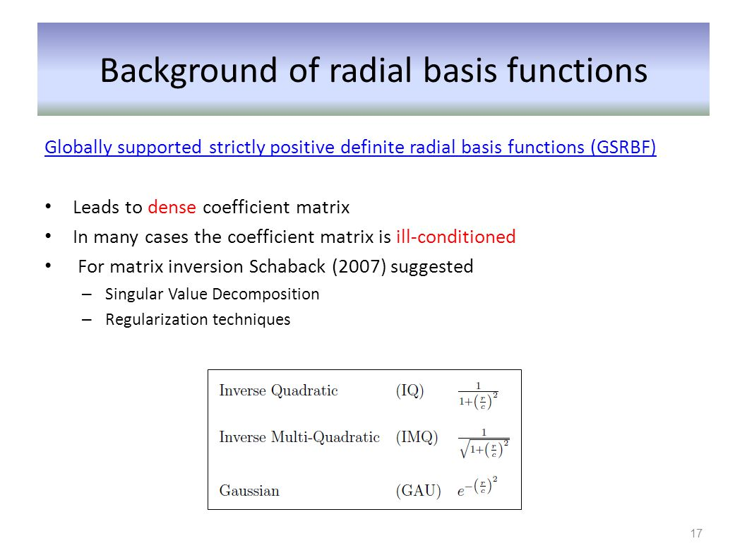 Background of radial basis functions