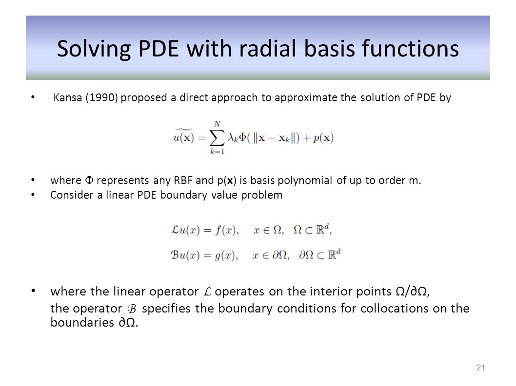 Solving PDE with radial basis functions