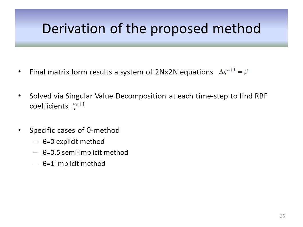 Derivation of the proposed method
