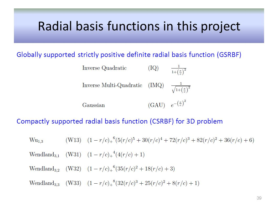 Radial basis functions in this project