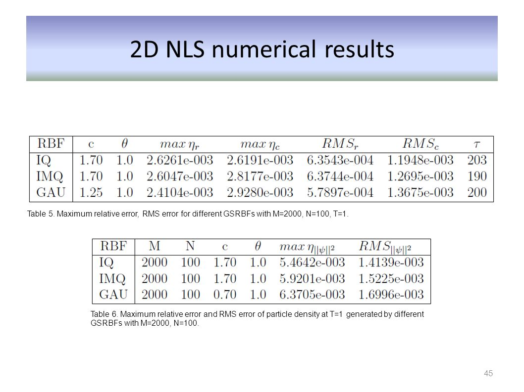 2D NLS numerical results