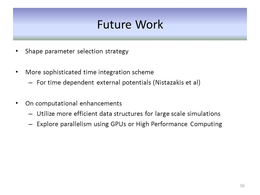 Future Work Shape parameter selection strategy