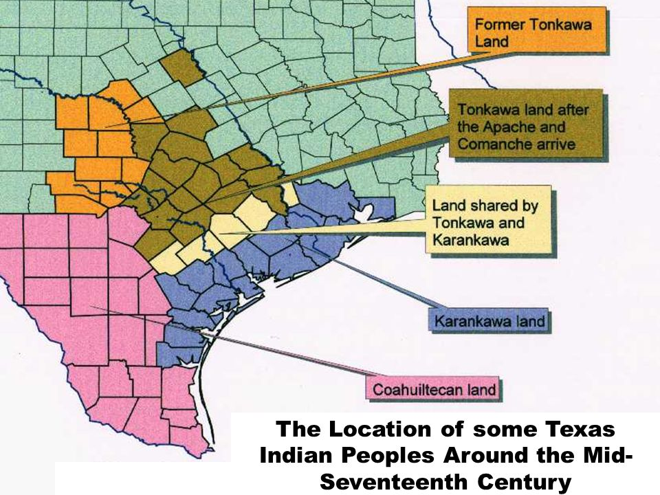 The Location of some Texas Indian Peoples Around the Mid-Seventeenth Century