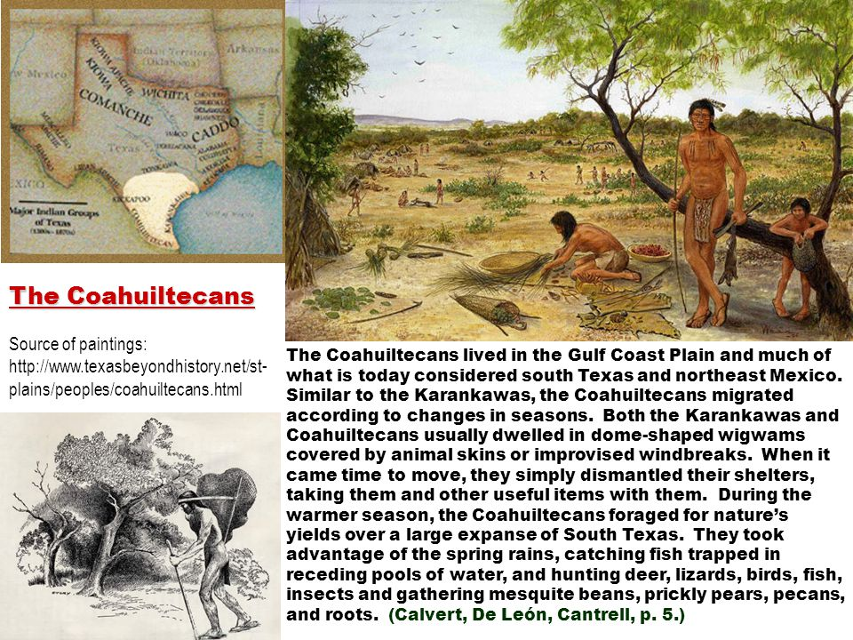 The Coahuiltecans Source of paintings: http://www.texasbeyondhistory.net/st-plains/peoples/coahuiltecans.html.