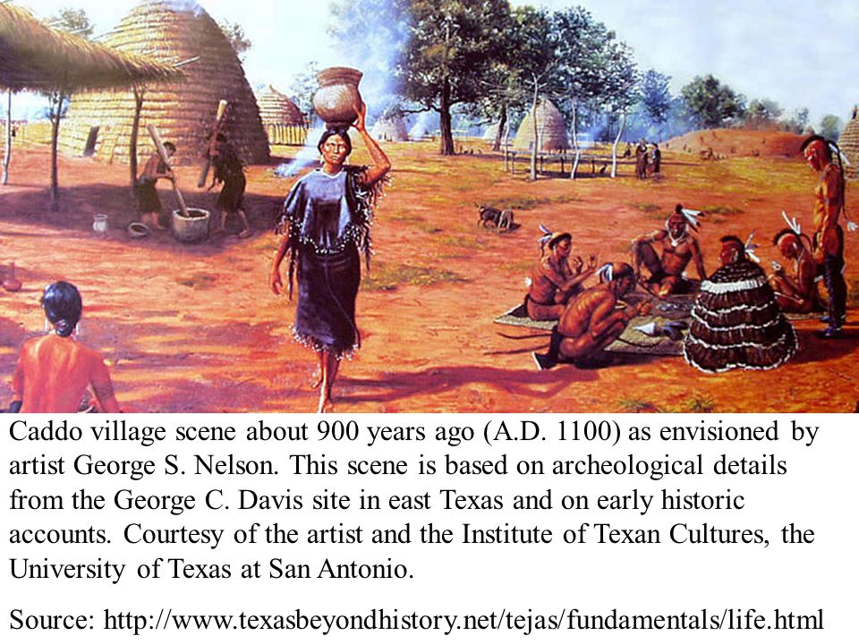Caddo village scene about 900 years ago (A. D