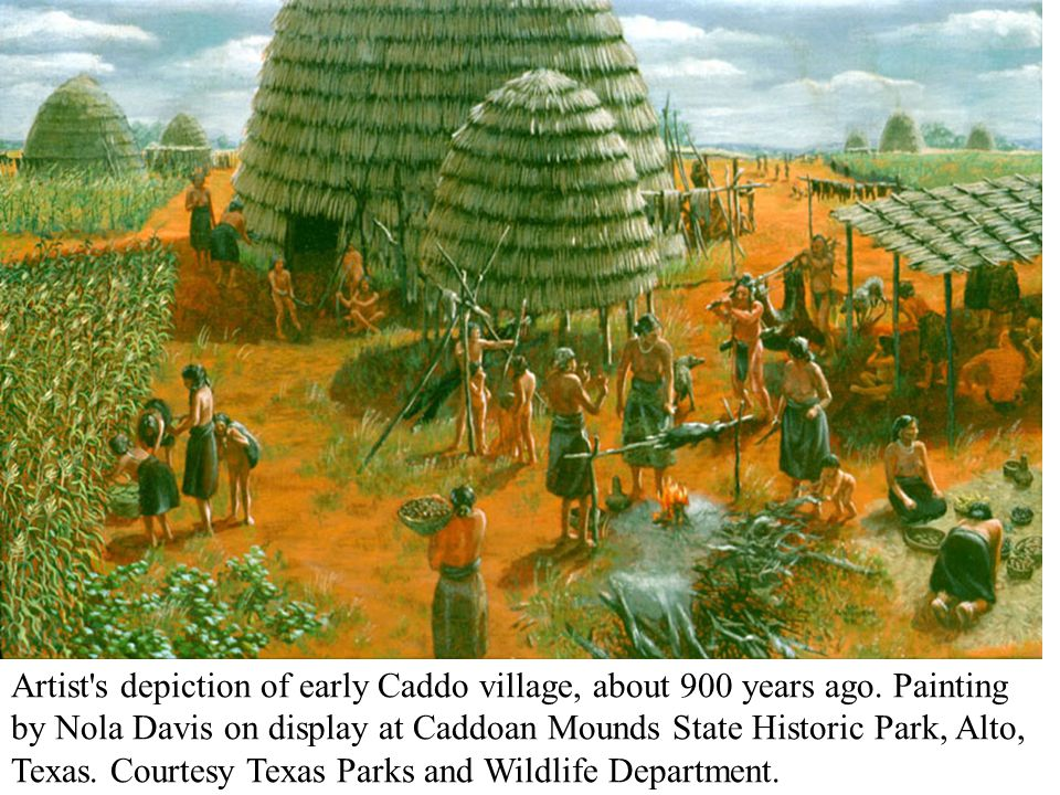 Artist s depiction of early Caddo village, about 900 years ago