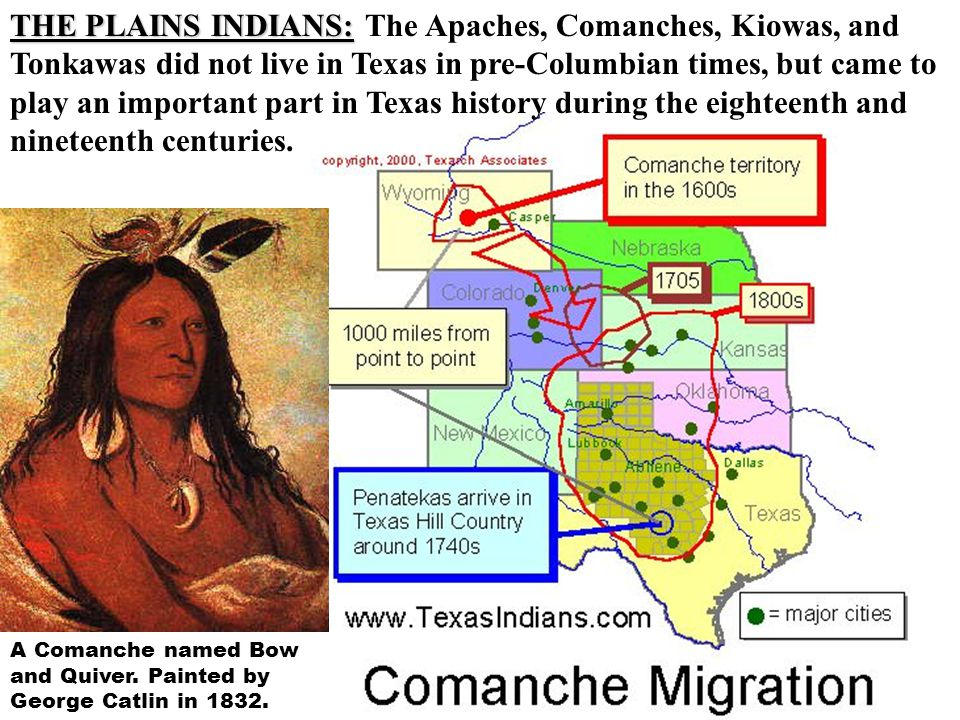 THE PLAINS INDIANS: The Apaches, Comanches, Kiowas, and Tonkawas did not live in Texas in pre-Columbian times, but came to play an important part in Texas history during the eighteenth and nineteenth centuries.